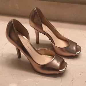 Beautiful Jessica Simpson half d'orsay pumps